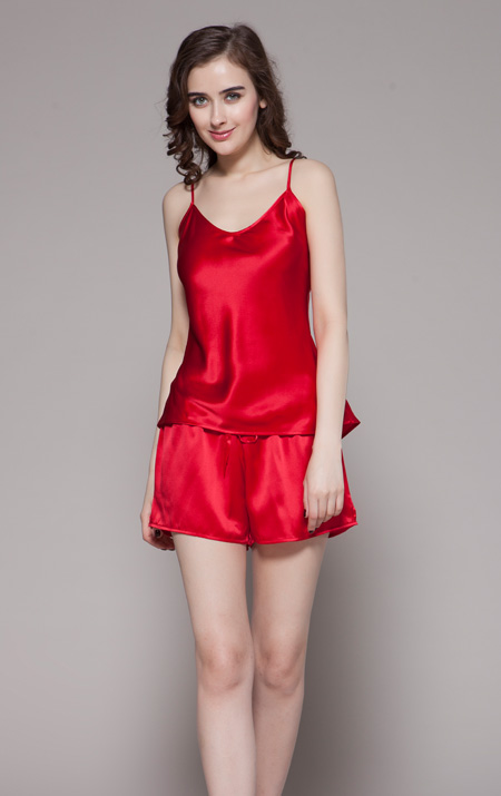 450 Rouge Two Piece Short Round Neckline Silk Pajamas Set