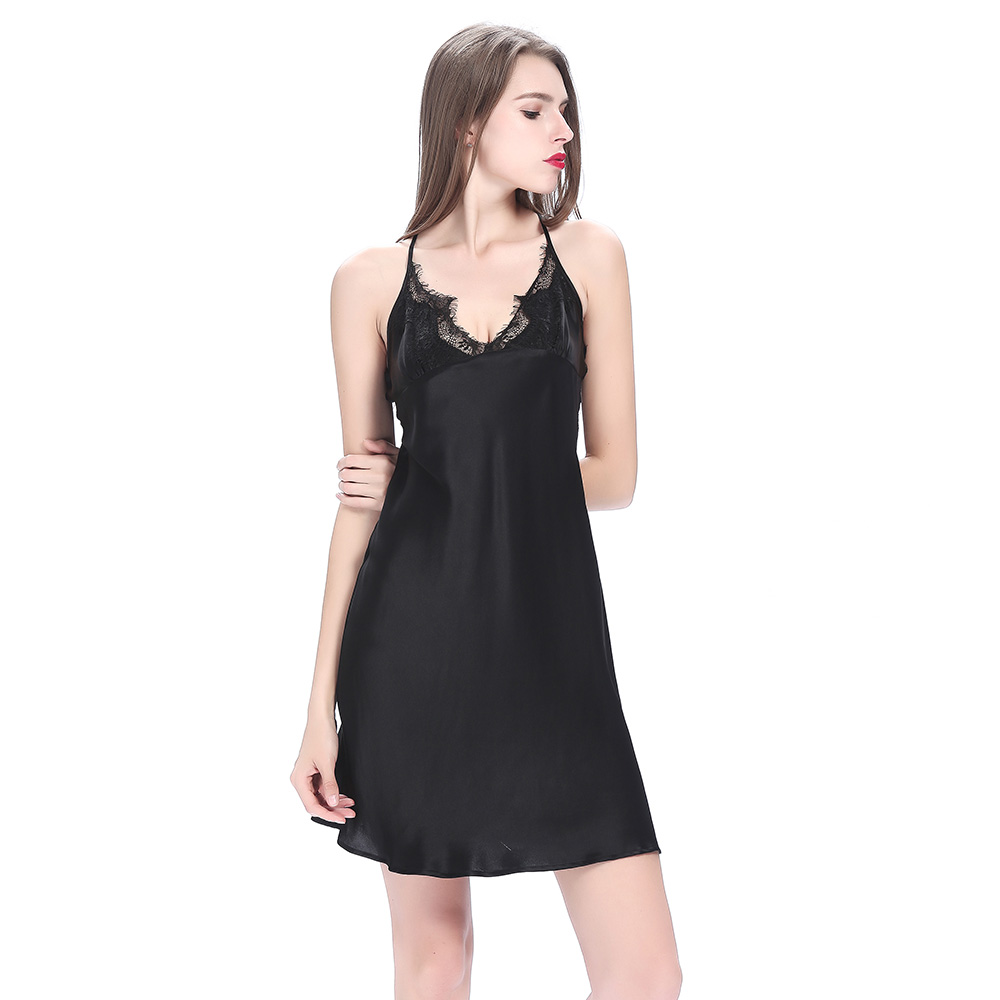 Sexy Lace Short Silk Nightgown