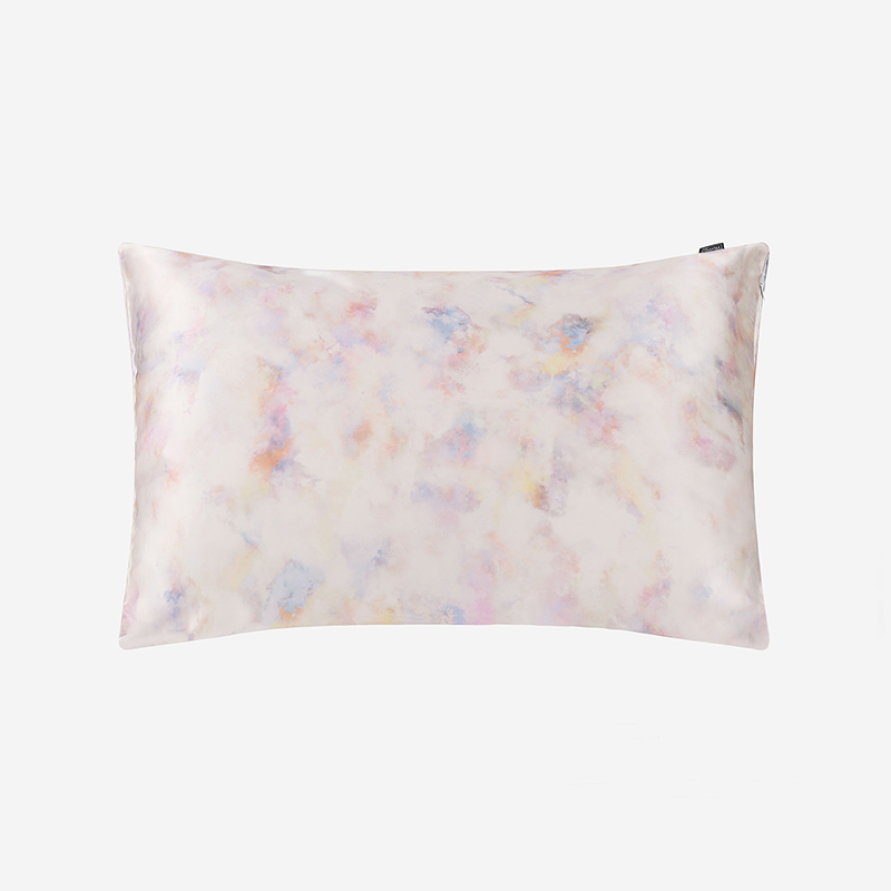 LILYSILK 19 Momme Print Silk Pillowcase with Hidden Zipper Watercolor Print