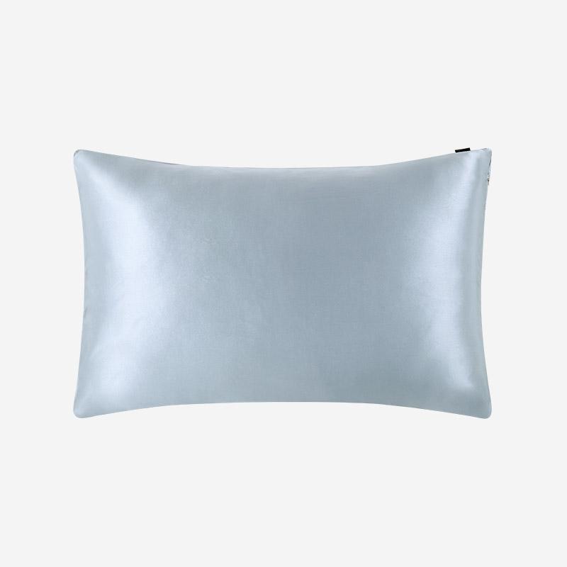 LILYSILK 22 Momme Terse Silk Pillowcase with Hidden Zipper Silver Blue